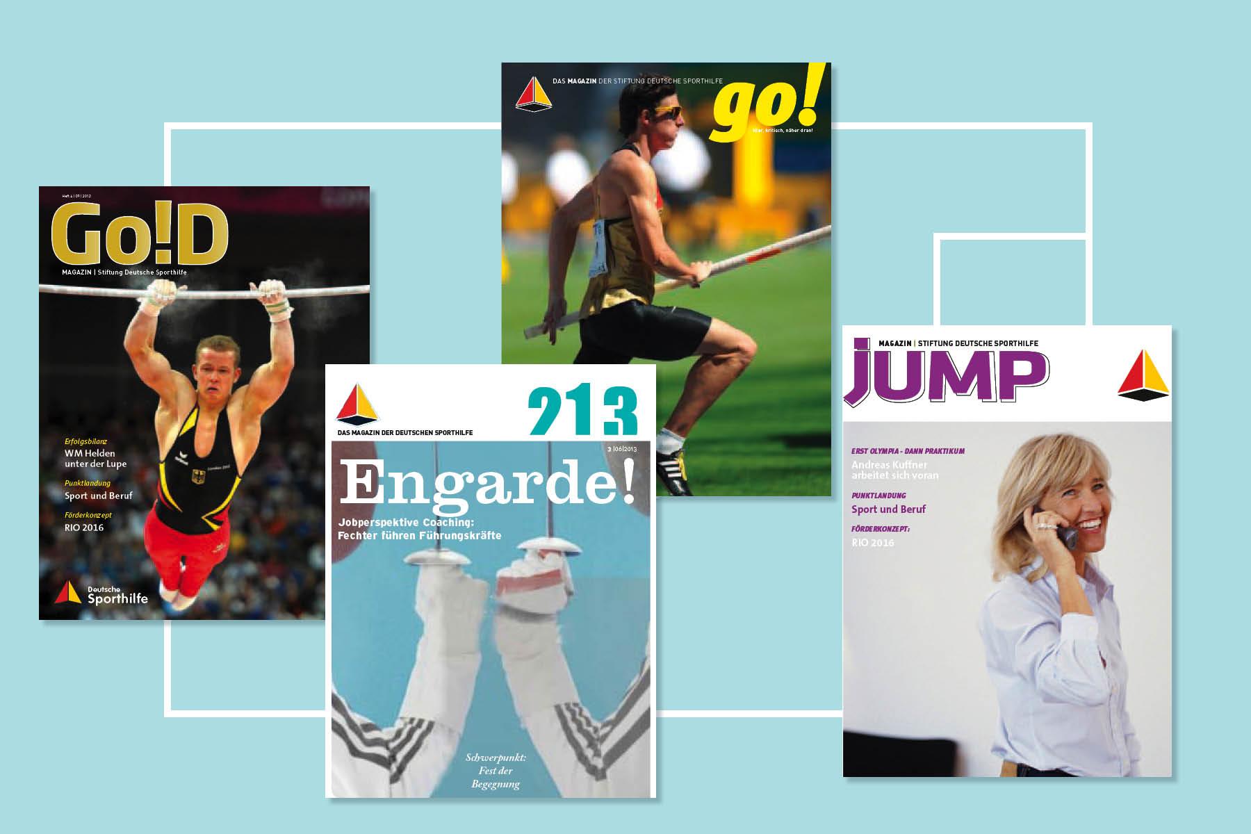 Ein Magazin - Vier Ansätze zum Namen und zur Gestaltung der Titelseite.